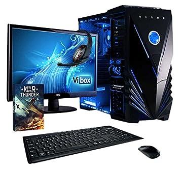 """Vibox VBX-PC-5407 Unité centrale Gaming Ecran Non tactile 21,5""""(54,61 cm) Néon Bleu (AMD Athlon 64 fx, 32 Go de RAM, 2 To, AMD Radeon R7, Windows 10)"""
