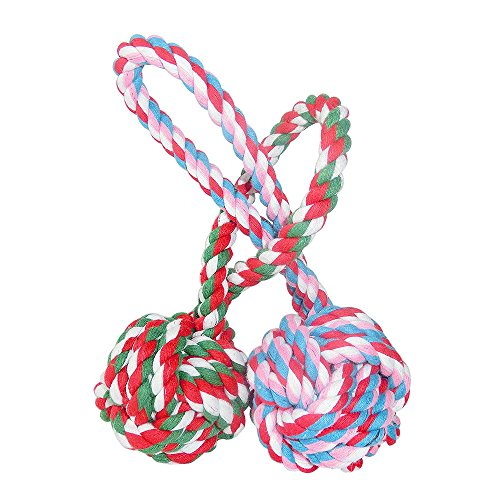 Unitter Dogs & Cats Chewing Toy With a Tug - Pet Puppy Knotted Cotton Rope Toy Balls for Biting Training, 2 Packs (Color of Toy balls will be shipped at random)
