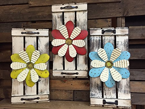 "FLOWER Garden Decor Wall art 24"" SHUTTER Metal Rustic Country Distressed Nursery Childs Room Decor for Boy Girl Kids Home Red Blue Yellow Sign Picture White Barn Wood Tin Daisy Summer"