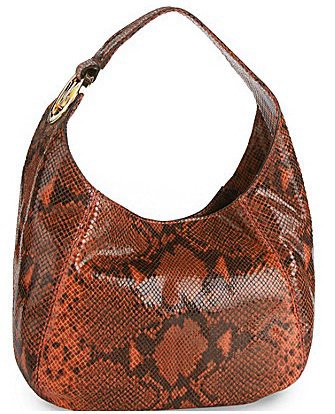 MICHAEL Michael Kors Fulton Shoulder Bag Handbag Python Medium PERSIMMON 30S01FTL2E