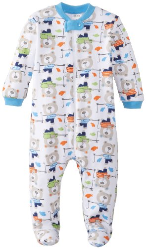 Lamaze Baby-Boys Newborn Boys 1 Pack Sleep N Play With Zipper, Bear, 3-6 Months