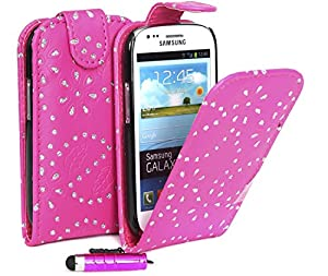 Supergets® Samsung Galaxy S3 mini I8190 Hot Pink Top Flip PU Leather Case Covers and Mini Stylus