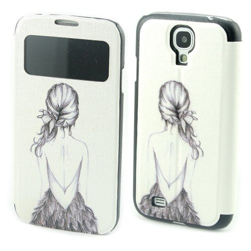 Painting Art Girl's Back Design PU leather Flip Cover Case for Samsung Galaxy S4 S IV i9500