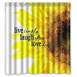 """Waterproof Bathroom Fabric Shower Curtain, Watercolor Sunflower Art With Live Laugh Love Quotes Print Design 66"""" x 72"""""""