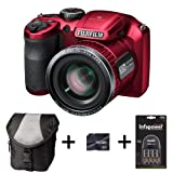Fujifilm FinePix S4800 - Red + Case + 16GB Memory + 4 AA Batteries and Charger (16 MP, 30x Optical Zoom) 3.0 inch LCD