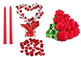 "Romantic Decor Set Package - Includes: 200 Red Polyester Silk Rose Petals, 1 Heart Gleam 'N Shape Centerpiece, 12 Bendable Plush Roses, 2 12"" Red Taper Candles"