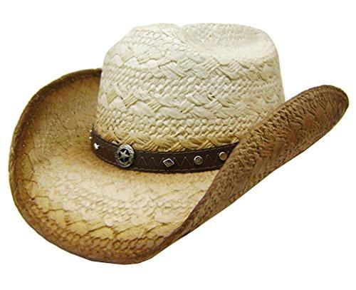 modestone-mens-straw-cappello-cowboy-metal-sheriff-star-concho-studs-hatband-l-tan