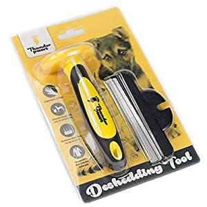 Best Professional Deshedding Tool and Pet Grooming Brush - D-Shedz by Thunderpaws for Small, Medium and Large Breeds of Dogs and Cats with Short or Long Hair