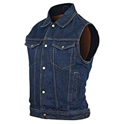 Mens Blue Denim Jean Vest L