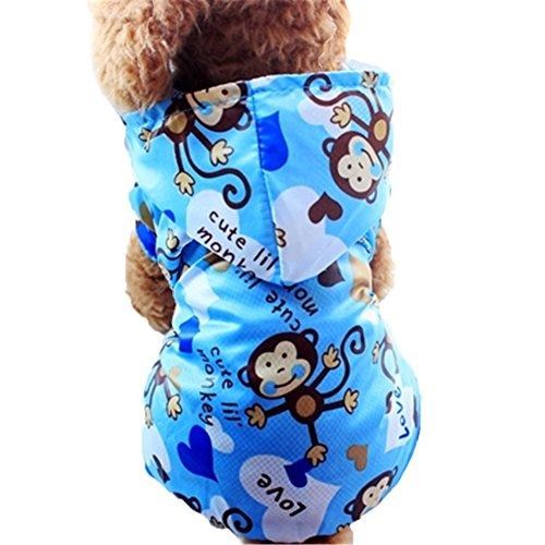 Moolecole Cartoon Affe Haustier Hundemantel Regenmantel Hunde Vier Beine Bekleidung Wasserdicht Hundejacke Wintermantel Hoodie Regenjacke Blau S