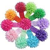 Lowpricenice (TM) 10 Pieces Babys Headbands Girls Headband Chiffon Flower Hair Bow