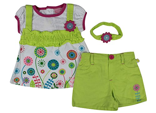 Alfa Global Baby Girl'S Newborn Flower Printed Dress And Short Set With Headband Green 3-6 Months front-302632