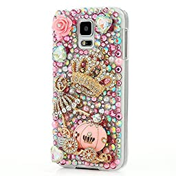 Samsung Galaxy S5 mini Bling Case - Fairy Art Luxury 3D Sparkle Series Pumpkin Car Ballet Girl Crown Rose Flowers Crystal Design Back Cover with Soft Wallet Purse Red Cloth Pouch - Pink