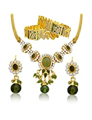 Surat Diamonds Green Coloured Stone & Gold Plated Fashion Necklace, Earring & Bangle Set For Women (PS29+PK3)