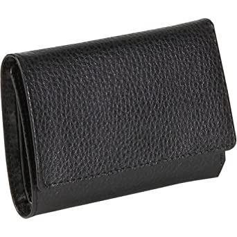Budd Leather Pebble Grained Leather Foldover French Purse (Black)