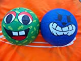 """Mini 7"""" Tall Kids Smile & Growl Face Basketball Pair, Early Training Practice Drill Ball Set."""