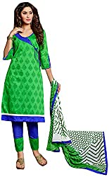 AVC-Colourful Women's Chanderi Unstitched Salwar Suit (1006, Green)