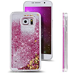 Galaxy S6 Case, ikasus Galaxy S6 Cover, Galaxy S6 [Liquid Case], Creative Design Flowing Liquid Floating Luxury Bling Glitter Sparkle Stars Hard Case for Samsung Galaxy S6 G920 (Stars:Hot Pink)