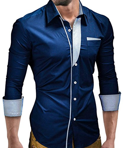 MT Styles BH-306 - Camicia slim fit - blu scuro - M