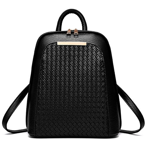 SILI Women's PU Leather Backpack Casual School Bag Outdoors Purse Solid Simple Style Travel Bag Black (Quilted Backpack Purse compare prices)