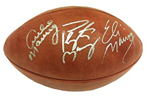 Archie, Peyton, & Eli Manning Autographed Signed Official Wilson NFL Football by Radtke+Sports