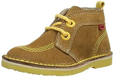 Kickers Boys Adlar Pop Suede Desert Boots 112944 Dark Brown/Yellow 5 UK Child, 22 EU