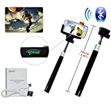 IPOW Extendable Self-portrait Wireless Bluetooth Remote Camera Shooting Shutter Monopod Selfie Handheld Stick Pole with Mount Holder specially designed for Iphone 6 5s 5c 5 4s 4 Samsung Galaxy Mobile Cell Phone,Black