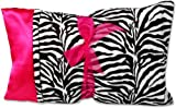 Minky/Satin Pillow - Zebra Minky/Hot Pink Satin