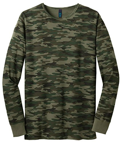 District Threads Men's Long Sleeve Ring Spun Thermal T-Shirt_Army Camo_XX-Large