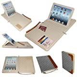 Luxury Executive iPad Case / Portfolio - Grey Leather & Brown Trim 360 Rotating Executive Zip Portfolio With Detachable Case for iPad 2/3/4 with Stylus & Screen Protector by Stuff4®