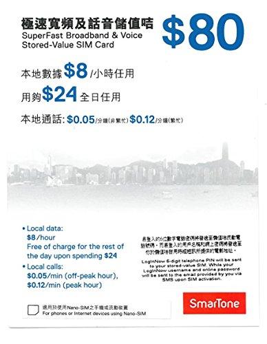 香港 プリペイドSIM 販売 4G LTE ランキングNO.1 SmarTone 高速定額データ通信 音声通話 SIMカード HK$80通常・マイクロサイズ