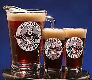 Personalized Biker Bar Design <br>Two Pint Glass & Pitcher Gift Set