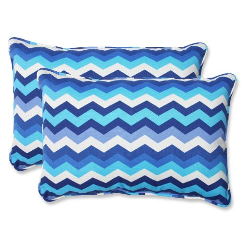 "Set of 2 Rayas Azules Blue, Navy and White Chevron Striped Outdoor Corded Throw Pillows 24.5"""