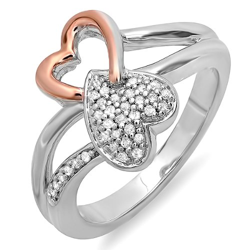 0.10 Carat (ctw) Sterling Silver and Pink Gold Plated Round Diamond Two Tone Ladies Bridal Promise Double Heart Infinity Love Engagement Ring