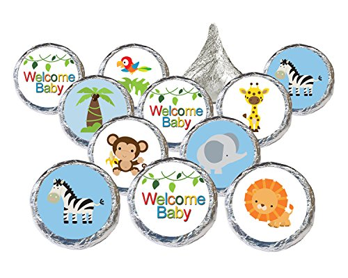 Jungle Animals Safari Baby Shower Favor Stickers for Hershey Kisses (Set of 324) (Baby Shower Themes compare prices)