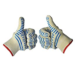 Proteove Oven Gloves-withstand Heat up to 662°F - Five Fingers Heatproof Oven Gloves Set - Use As Oven Mitt, Pot Holders, Baking, Fireplace & Cooking Gloves(Pack of 2)