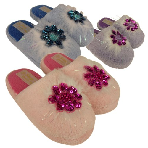 Girls Kids Furry Sequin Flower Soft Feathers Mule Mules Slippers Size UK 10 - 2