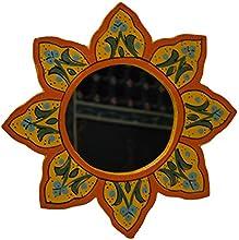 Yellow Round Wood Painted Mirror Handmade Small