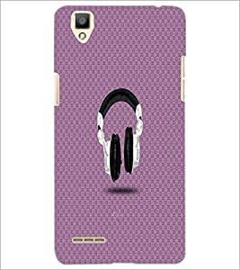 PrintDhaba Headphones D-2826 Back Case Cover for OPPO F1 (Multi-Coloured)