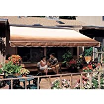 Hot Sale Sunsetter Pro Motorized Awning (12 Ft / Coffee Stripe) With Traditional Laminated Fabric With Right Mounted Motor And Wall Bracket