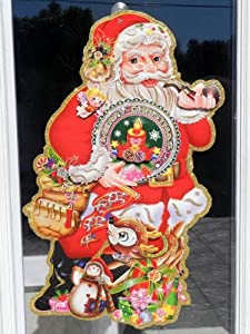 """Santa Claus Door/ Window Decoration in 3d with Glitter Scents (Large (L) 39 1/2"""" (W) 23 1/2"""")"""