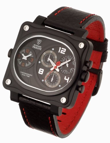 DeTomaso Men's Quartz Watch with Black Dial Analogue Display and Black Leather Strap DT1010-A