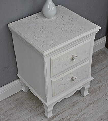 elbmöbel.de - Mesilla de noche, diseño barroco, color blanco, rosa y beige
