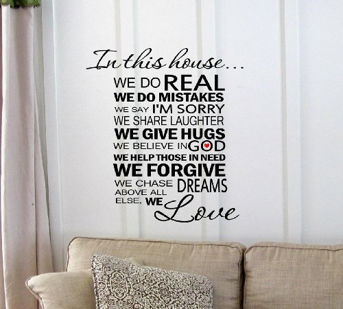 In This House...We Are Real We Make Mistakes We Say I'M Sorry We Give Second Chances We Have Fun We Give Hugs We Forgive We Do Really Loud We Are Patient We Love. Vinyl Wall Art Inspirational Quotes And Saying Home Decor Decal Sticker Vinyl Couture front-825213