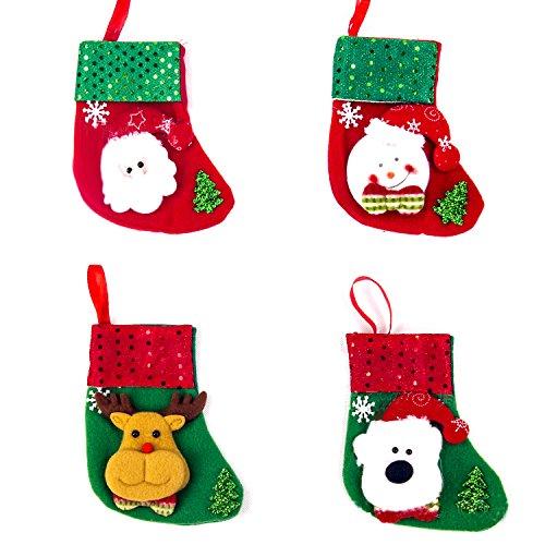 【ANION】クリスマス ソックス 可愛い クリスマス プレゼント 袋 靴下 クリスマス ブーツ パーティー飾り お菓子入り 4点セット (デザインB)