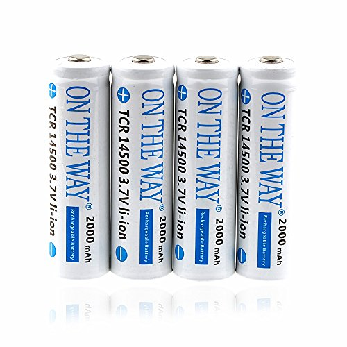 ON THE WAY®Rechargeable Protected Li-on Battery 14500 3.7V 2000mAH 4Pcs AA White Battery for Cree LED Flashlight Torch