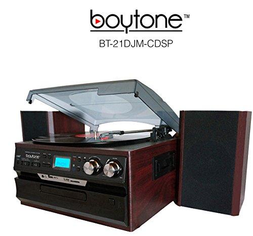 7-in-1-Boytone-BT-21DJM-CDSP-Full-Size-3-Speed-Turntable-334578-Rpm-Belt-Drive-CD-Cassette-Player-AMFM-USBSD-Slot-Aux-Input-Encoding-Vinyl-Radio-Cassette-To-MP3