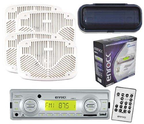 Ekmrs12 Boat Radio 200W Media Receier Usb Aux Sd Card+4 6X9 White Speakers Cover