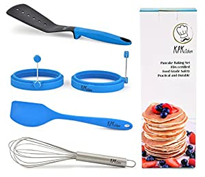 5 Piece Pancake Baking Set, Nonstick: 2 Pancake Rings, 1 Nylon Turner, 1 Silicone Spatula, 1 Whisk, All in 1 Convenient Kit | Perfect Pancakes, Eggs, Burgers & More | Dishwasher Safe by KPKitchen