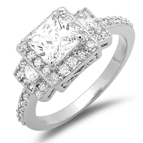 1.50 Ct Ladies Princess & Round Cubic Zirconia Cz Wedding Halo Style Bridal Engagement Ring (Available In Size 6, 7)